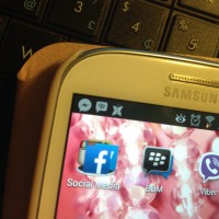 Samsung phone screen with BBM